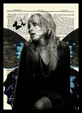 Stevie Nicks Black Dress Portrait Dictionary Art Print Book Page Mixed Media
