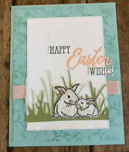 Sweet Little Bunnies Hand Stamped Easter Card - Blank Inside - Stampin' Up