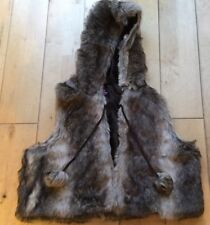 Faux Fur Hooded Gilet Cropped Pom Pom Details Brown Size 18 Lined