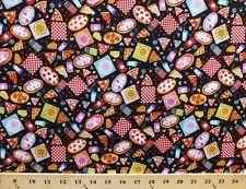 Cotton Pizza Lover Pepperoni Black Cotton Fabric Print by the Yard D768.20