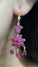 14k Solid YellowGold Leverback Cluster Flower Dangle Earrings,Natural Ruby8.8CT