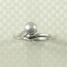 Solid Sterling Silver .925, Silver Tone Cultured Pearl &C.Z. Solitaires Ring TPJ