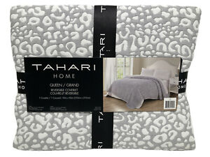 NEW Tahari Grey White Reversible Coverlet Animal Print Jungle Queen 92x92