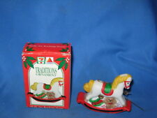 """1992 7-11 Ceramic Traditions """"Holly The Rocking Horse"""" Tree Ornaments"""