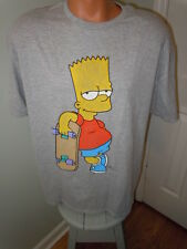 Mens Bart Simpson With Skateboard T-Shirt Gray Short Sleeves Size 2XL