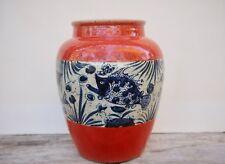 Antique Chinese Carp Bass Fish Aquarium Crackle Glaze Vase Jar 10.5 Inches tall