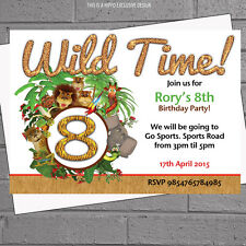 Jungle Birthday Kids Party Invitations - Wild Time Age Animal x 12 +envs H0147