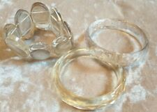 CLEAR GLASS STYLE PLASTIC STRETCHY BRACELET & BANGLE BUNDLE COSTUME JEWELLERY