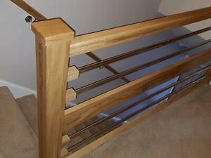 Oak & Chrome Pipe Modern Beam Landing Banister Set 2.4m with Wall Handrail 3.6m