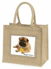 'Happy Easter' Shar-Pei Dog Large Natural Jute Shopping Bag Christ, AD-SH2DA1BLN