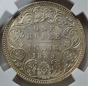 1 Rupee 1889B Incuse Mintmark Crowned head of Victoria India-British UNC / NGC
