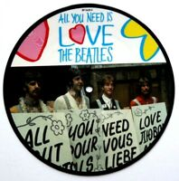 """EX/EX! Beatles Picture Disc 7"""" Vinyl All You Need Is Love The 20th Anniversary"""