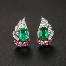 6*4MM Oval Natural Emerald Ruby Diamond Screw Stud Earrings Solid 14K Whtie Gold