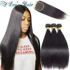 Peruvian Straight Human Hair Bundles with 4*4Closure Free Part Remy Weave Bundle