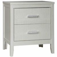 Ashley Furniture Olivet 2 Drawer Nightstand in Metallic Silver