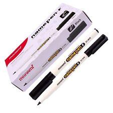 Fine Tip Permanent Marker Pen Monami F Medium Point Name Tags 1mm 12Pcs Black