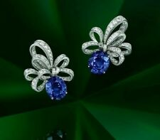 925 Sterling Silver Blue Oval Bow Ribbon Style Earrings Women's Studs gift her