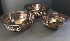 Vintage Pyrex Festive Harvest Nesting Bowls 325 323 322 Amber Brown