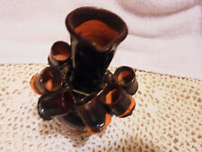 """Mini Brown Stoneware Pottery Jug.4 1/2"""" Tall.With Six Little Cups Hanging On It"""