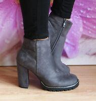 Ladies Womens Block High Heel Chunky Platform Diamante Ankle Boots Shoes Size