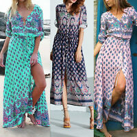 Women Summer Boho Bohemian Long Maxi Dress Ladies Evening Party Beach Sundress