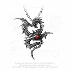 Alchemy gothic étain aethera draconem dragon red orb collier pendentif P756