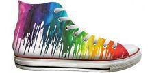 White Custom Rainbow High Tops LGBTQ Pride Crayon Drip Chucks Print Sneaker Shoe