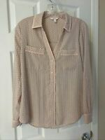 Candies Womens Pink and black Button Down Blouse Size S Lightweight Blouse!!!