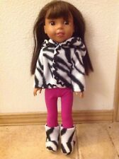 Wellie Wishers doll clothes black fleece zebra shoes BOOTS ONLY 14 American Girl