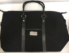 New Mens Chrome Azzaro Perfumes TRAVEL BAG WEEKENDER Black Leather Handle Straps