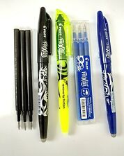 9 X PILOT FRIXION SET 1 HIGHLIGHTER & 2 ROLLER BALL ERASABLE PENS  & 6 REFILLS