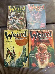 Weird Tales Pulp Magazine Digest Lot - 4 Issues - 1940s 1950s Bradbury