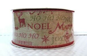 """Holiday Greetings Natural Burlap 2.5"""" Wide Wired Ribbon 25 yd christmas country"""