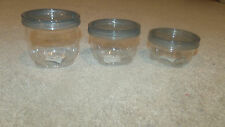 Lot x3 6/8/12-oz Plastic Storage Jar/Canister/Container-Stack & Twist-Clear-New!