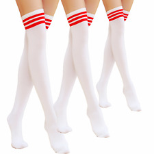 New Over Knee Cotton Strip Socks Tights Plus Size Women Stockings Long Pantyhose