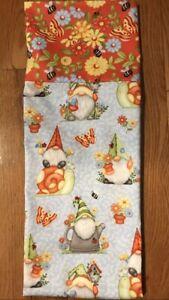 Homemade Cotton Gnomes, Snails, & Butterflies Pillowcase - handmade, std size