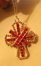 Lovely Sparkling Red Rhinestone Openwork Apostles Cross Goldtne Pendant Necklace
