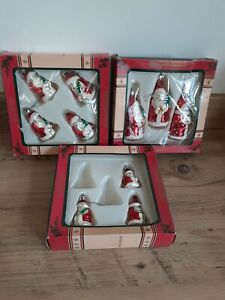 BOXED VINTAGE GLASS FATHER CHRISTMAS TREE ORNAMENTS