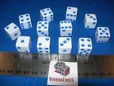 NEW 12 WHITE DICE w/ BLUE PIPS 16mm BUNCO PARTY FREE SHIPPING YAHTZEE CRAPS