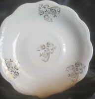 "8 W S George China 6"" Saucers Plate White Yellow Silver Floral Pattern."