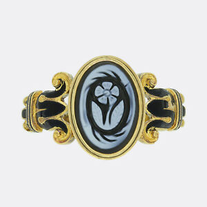 Antique Gold Ring - Victorian Cameo and Enamel 'Forget Me Not' Ring 18ct Gold