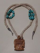 Vintage Shell Heishi Beads Turquoise and Tiger Eye Necklace with Netsuke Pendant