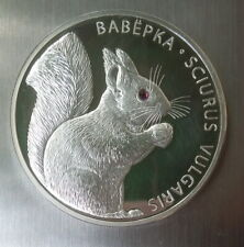 2009 Belarus 20 Ruble Byelorussia SQUIRREL Silver 999 FAUNA Swarovski Proof Coin