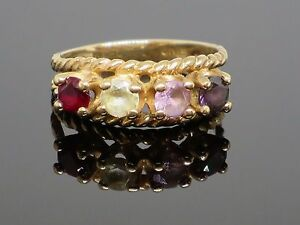 Vintage c1970s 1.2CT Ruby, Citrine, Topaz and Spinel 10K Gold Ring, 3.3g, size 7