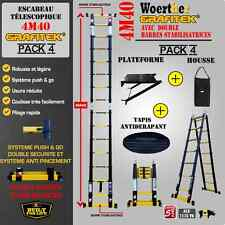 ESCABEAU 3 FONCTIONS WOERTHER 4M40 -PACK4 (Housse+plateforme+Tapis antiderapant)