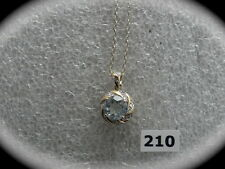 #210# Sterling Silver /18K Gold Plated Round Aquamarine Gem Pendant & Necklace