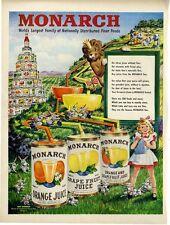 1949 Monarch PRINT AD Grapefruit-Orange Juice Cute Kitchen Vintage Decor