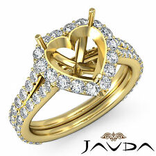 Diamond Engagement Ring Halo Set 1.29Ct 18k Yellow Gold Heart Shape Semi Mount