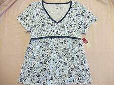 New Womens V Neck Blouse Ladies Top Size Medium 8 - 10 Shirt Blue Floral Clothes