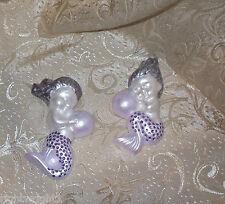 SHABBY lavender purple MERMAID  WALL PLAQUE CHIC COTTAGE set 2 decor